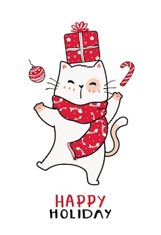 Cute cat in red knitted scarf christmas and present box, happy season, greeting card
