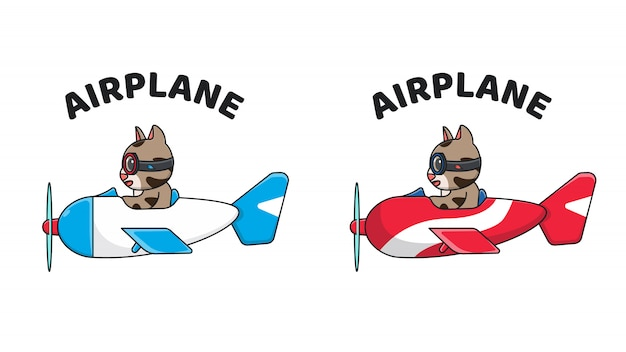 Cute cat riding an airplane