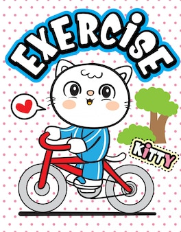 Cute cat riding bicycle cartoon