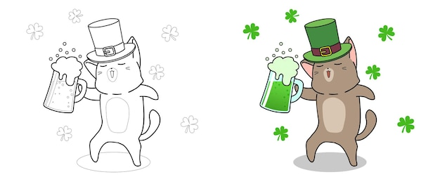 Cute cat in saint patrick day coloring page for kids