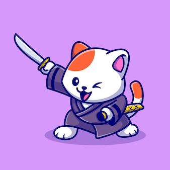 Милый кот самурай с мечом мультяшный вектор значок иллюстрации. концепция значок спорта животных, изолированные premium векторы. плоский мультяшном стиле
