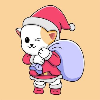 Милый кот санта клаус иллюстрации шаржа
