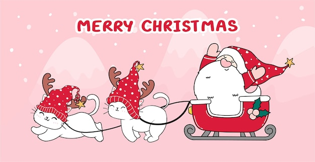 Cute cat and santa in sleigh for christmas day and new year. winter concept. doodle cartoon style, draw illustration banner