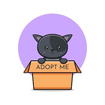 Милый кот говорит, что усыновите меня иллюстрации значка шаржа. дизайн изолированные плоский мультяшном стиле