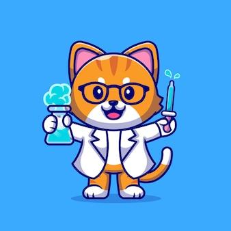 귀여운 고양이 과학자 만화 그림.