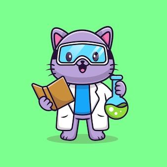 かわいい猫の科学者漫画ベクトルアイコンイラスト。動物科学アイコンの概念分離プレミアムベクトル。フラット漫画スタイル