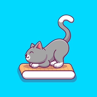 Cute cat scratching cardboard scratcher cartoon   icon illustration. animal icon concept isolated  . flat cartoon style