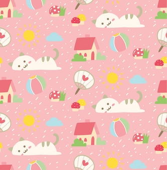 Cute cat seamless background in kawaii style