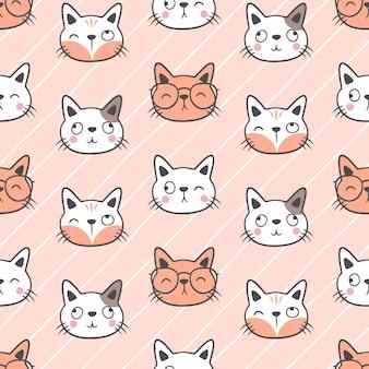 귀여운 고양이 원활한 패턴 배경, 귀여운 원활한 고양이 패턴 디자인