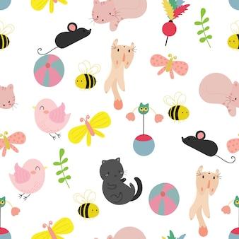 귀여운 고양이 완벽 한 패턴 배경