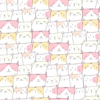 Cute cat seamless pattern background.