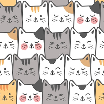 Cute cat seamless pattern background