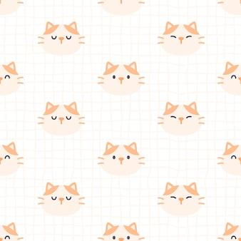 かわいい猫のシームレスなパターン背景