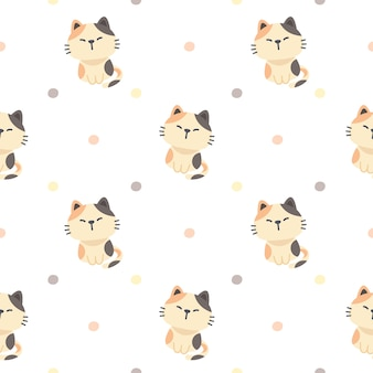 Cute cat seamless pattern background