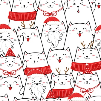 Cute cat seamless pattern for christmas