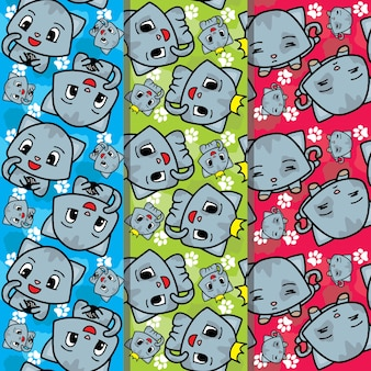 かわいい猫シームレスパターンコレクション