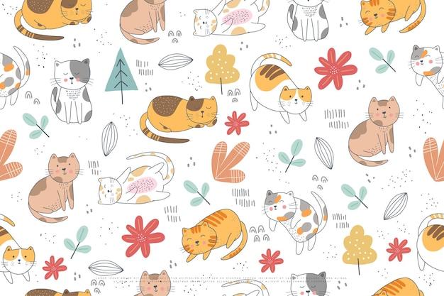 かわいい猫のシームレスなパターンデザイン