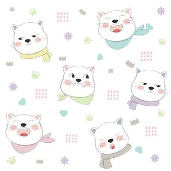 Симпатичные кошки бесшовные модели ручной обращается стиль
