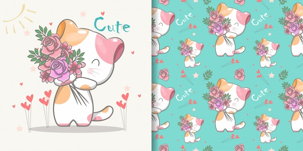 Cute cat seamless pattern and illustration card
