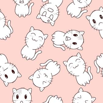 Милый кот бесшовные модели в розовом