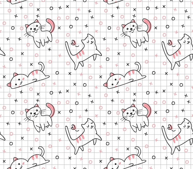 Cute cat seamless pattern in kawaii doodle style