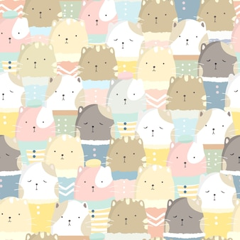 Cute cat seamless pattern pastel color