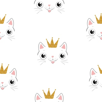 Cute cat seamless pattern. for print, baby clothes, t shirt, child, wrapping paper, wallpaper. vector eps10