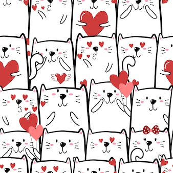Cute cat seamless pattern for valentine day