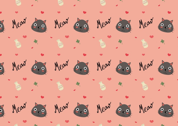 Cute cat seamless pattern vector.