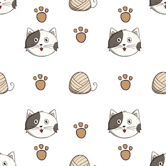 Cute cat seamless pattern with colored doodle style on white background