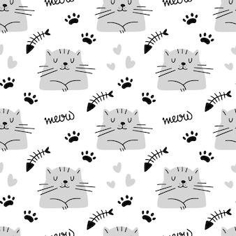 심장 발자국 물고기 뼈와 귀여운 고양이 원활한 패턴 흰색 배경에 고립