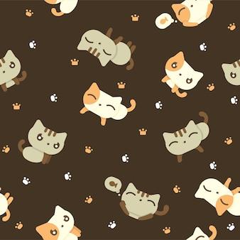 Симпатичные кошки бесшовные шаблон