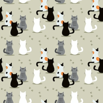 Cute cat seamless pattern.