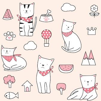 Симпатичный бесшовный фон кошки