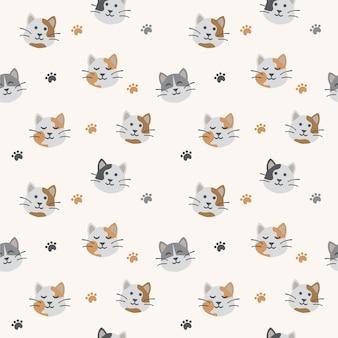 かわいい猫シームレスパターン