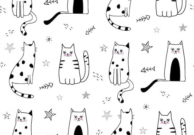 Cute cat seamless pattern