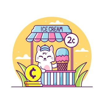 Cute cat selling ice cream illustration