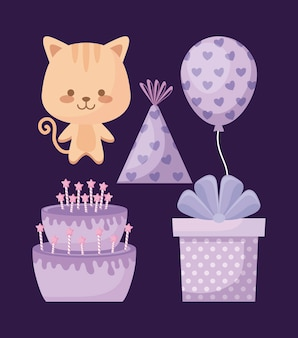 Cute cat and set icons party