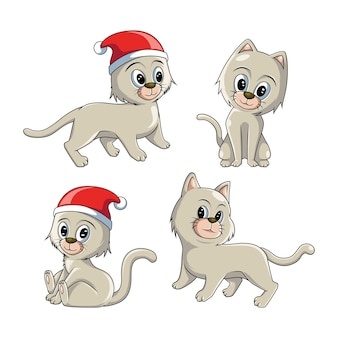 かわいい猫セットイラスト
