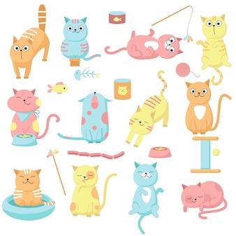 귀여운 고양이 세트, 벡터 손으로 그린 그림. 재미 있은 새끼 고양이 핥아, 야옹 재생 및 식사, 애완 동물 먹이 및 액세서리.