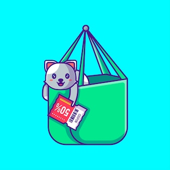 Cute cat in shopping bag holding discount coupon cartoon illustration. animal and flash sale flat cartoon style concept