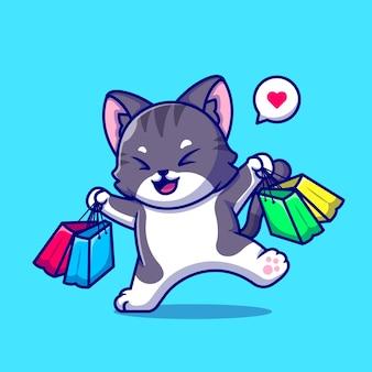 Cute cat shopping cartoon icon illustration.