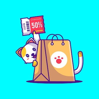 Cute cat shopping discount coupon cartoon illustration. animal and flash sale flat cartoon style concept