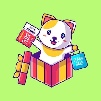 할인 쿠폰 만화 일러스트와 함께 쇼핑하는 귀여운 고양이. 동물 및 플래시 판매 평면 만화 스타일 개념