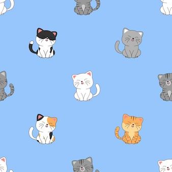 귀여운 고양이 앉아서 웃는 만화 원활한 패턴, 벡터 일러스트 레이 션