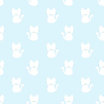 Cute cat sitting back view seamless pattern