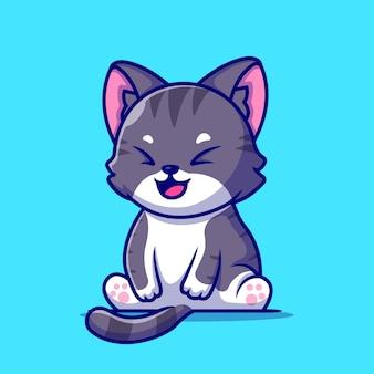 Милый кот сидит иллюстрации шаржа. плоский мультяшном стиле
