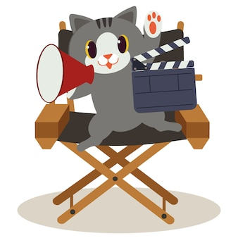 Cute cat sitting on the director chair. cat is making the movie and it so happy. cute cat working as director. a cute cat in flat vector style