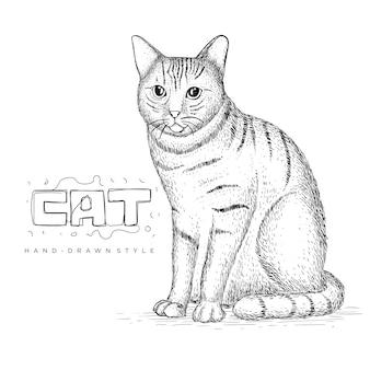 귀여운 고양이 앉아. 손으로 그린 동물 삽화