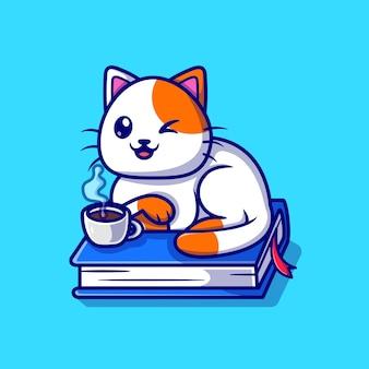 本の漫画のベクトルアイコンイラストに座っているかわいい猫。動物教育アイコンコンセプト分離プレミアムベクトル。フラット漫画スタイル